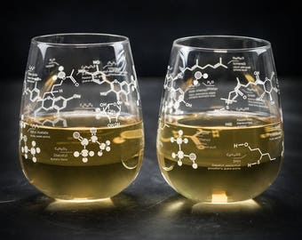 Chemistry of White Wine Stemless Glass Set   But First Wine, Girlfriend Gift, Gifts for Men, Science Nerd Gift, Gifts for her, Wine Science