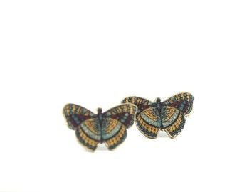 Ochre Butterly Post Earrings Post Earring Butterfly Jewelry Shrink Plastic Butterfly Earring Bug Jewelry Wings Studs Posts Child Earring