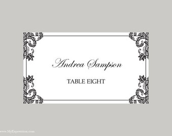 Wedding Place Cards Template (Folded) – Black Damask - Instant Download - Editable MS Word File