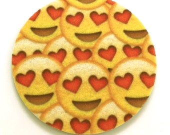 Smiling Face With Heart-Shaped Eyes emoji car coasters - Cup holder coaster - Emoji auto coasters - Free Shipping - Absorbent car coasters