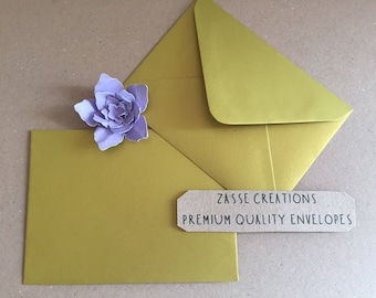Gold Metallic Premium Quality Envelopes 100gsm Greeting Cards/Craft/Wedding - Qty's 10 - 1000 & in 6 Different Sizes