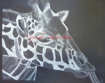 Giraffe - B&W original drawing by Sharon James