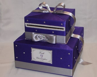 Elegant Two tier Purple-Silver Wedding Card Box-any color