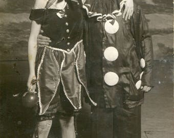 Unusual photo of a fairy and clown, 1930s RPPC of a Jewish theatre in Europe, actors costumes dressing up circus vintage photo snapshot
