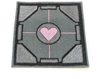 Companion Cube Portal embroidered iron on patch