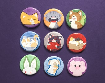 Cat, Bunny and Pig Buttons, Pins, Magnets, Keychains, Ponytail Holders, Make great small gifts.