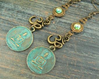 zen earrings, buddha earrings, spiritual earrings,mothers day,green,peridot,ohm earrings, yoga earrings, festival earrings,boho, gypsy