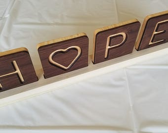 """HOPE - Walnut and curly maple word art with 4"""" tiles and stand"""