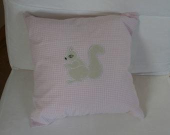 Pillow case - checked cotton - squirrel