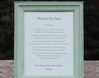 Sister Poem Personalized Gift for Sister Best Friend Birthday Gift for Sister Wedding Gift for Sister Maid of Honor Bridesmaid