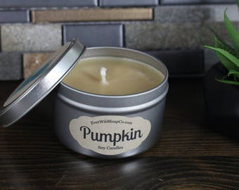 Pumpkin Soy Candle 8 oz Tin, Fall Candle, Soy Wax Candle