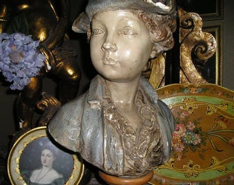 """Vintage Shabby Chic Little Lord Fauntleroy  Lg. Bust/Statue 18""""x11"""" Fab.Victorian Statue."""