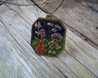 Coral reef necklace, Fish in the sea, Underwater world, Art noveau, Real glass enamel, Bronze metal clay miniature, Unique jewelry, Art deco