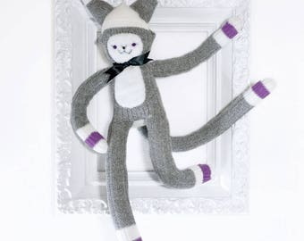 Sock Cat Doll -A toy made from a pair of soft ladies socks -purple detail
