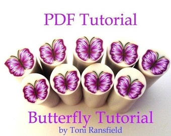 Polymer Clay Tutorial; TUTORIAL Butterfly Cane,  PDF Tutorial Polymer Clay, Millefiori Cane, Learn How to Make a Butterfly