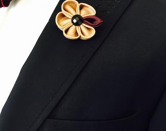 Brown Lapel Pin, Wedding Lapel Pin, Mens Lapel Pin, Custom Lapel Pin, Flower Lapel Pin, Boutonniere