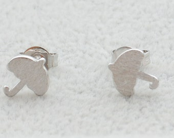 Pair of Little Umbrella Stud Earrings in Sterling Silver Textured Finish Cute and Pretty e12