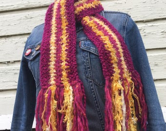 Fuchsia + Yellow Striped Long Scarf
