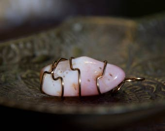 Pink Opal//Wire Wrapped Pink Crystal//Tumbled Opal