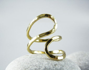 Abstract Statement ring Infinity gold Hammered ring