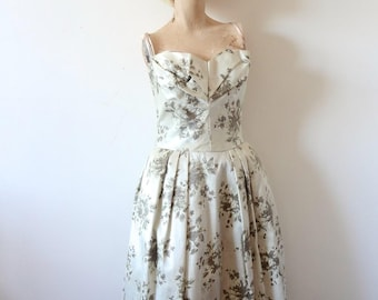 1950s Party Dress / Lorrie Deb floral print silk satin evening gown / vintage prom dress size S