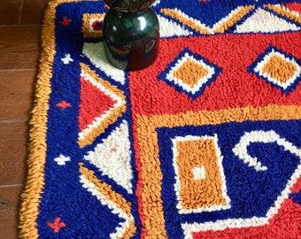 handmade loomed rug Mid Century Modern Rug Red Rust Brown Blue White Rug Vintage Home Decor Bohemian Living Room decor boho chic floor mat