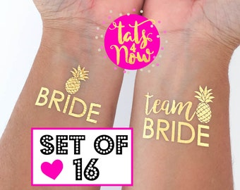 Team Bride tattoos for bachelorette party and hens party / temporary tattoo tato tatoo / summer wedding / beach party / pineapple party