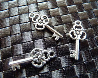 3 silver metal key fobs