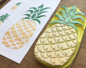 Pineapple rubber stamp, fruit stamp, hand-carved stamp
