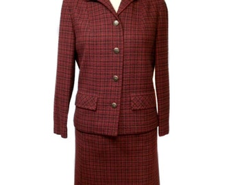vintage 1960's PENDLETON plaid skirt suit / red / wool / jacket skirt / plaid suit / women's vintage suit / tag size 10