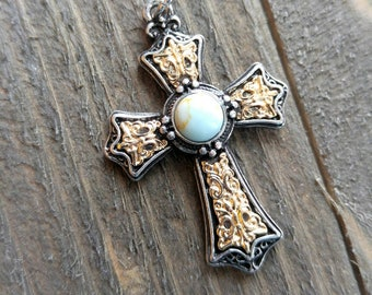 Large Cross Pendant Antiqued Silver Gold Cross Charm Turquoise Charm Vintage Style Focal Pendant Religious Charm 1 5/8""