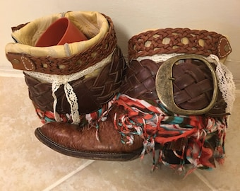 Cowboy Boots size 8.5 Ladies Bootie Style Boho Chic cowgirl boots. UPCycled cowboy boots