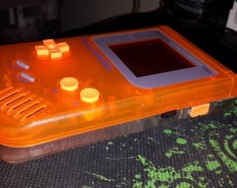 Customized/Modded Orange/Clear Game Boy DMG-001 with Orange Back-Light