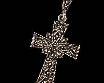 Sterling Silver Cross Necklace, Vintage Sterling Silver Marcasite Celtic Cross Necklace, Sterling Cross Pendant