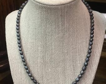 Beaded Purple Iridescent Pearl Necklace