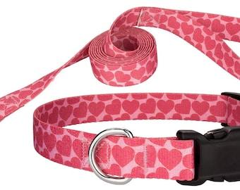 Hearts Featherweight Dog Collar & Leash Set - S, XS, 2XS