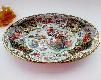 Vintage Tin Oval Bowl  - Daher Decorated Ware Tin Metal Oval Platter Bowl - Asian Motif Metal Tin - Made In England