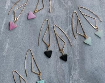 Triangle earrings, Geometric earrings, Gemstone earrings, Long dangle earrings, Dainty earrings, Everyday earrings gift, Turquoise earring
