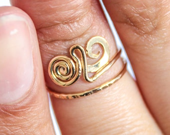 Gold Midi Ring Above Knuckle Midi Ring in Gold Wire Jewelry Gold Knuckle Ring Adjustable Gold Ring Spiral Gold Ring for Women Gift for Her