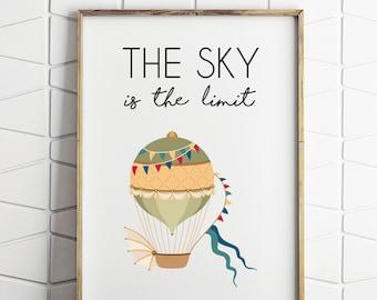 air balloon wall decor, air balloon printable, air balloon wall art, printable download, kids wall decor, sky is the limit