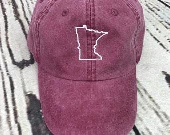 Minnesota hat, State of Minnesota baseball hat, Minnesota baseball cap, Pigment dyed hat, State outline hat, Gameday hat, State outline