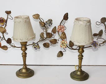 Pair French Tole Porcelain Flower Girandole Lamps Early 1900s