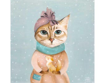 Winter Cat ART Print cat wall art christmas cat decor  cat picture cat gift for cat lover girl room wall decor tabby cat painting