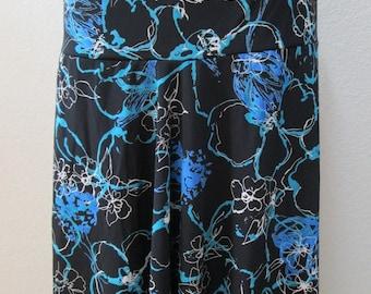 black Geometric pattern print skirt OR tube dress for optional plus made in U.S.A (v67)