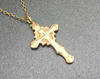 """Gold Filled Cross Pendant Necklace, 16"""" Necklace, Religious Necklace"""