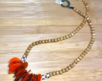 Orange Ethnic Tagua, African Trade Bead and Wood Necklace