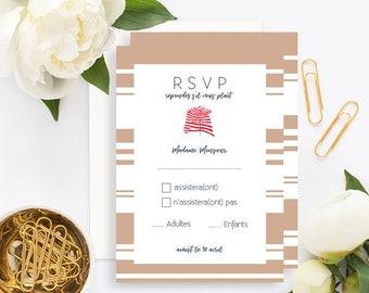 Biarritz Beach Wedding RSVP Card with white envelope - Wedding RSVP Card - Beach Wedding Invitation - Flowers Wedding - Hydrangeas Wedding
