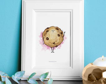 Watercolor Illustration: Chocolate Chip Cookie