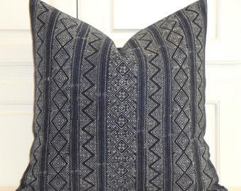 NEW - Indigo Batik Decorative Pillow Cover - Hmong Pillow -Tribal Pillow - Batik Pillow - Navy Pillow - Toss Pillow