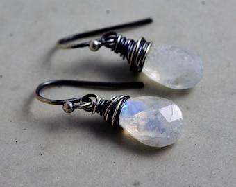 Moonstone Earrings, Drop Earrings, Rainbow Moonstone Gemstones,